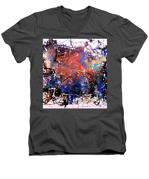 Men's V-Neck T-Shirt featuring the painting Exotic Zone by Roberto Prusso
