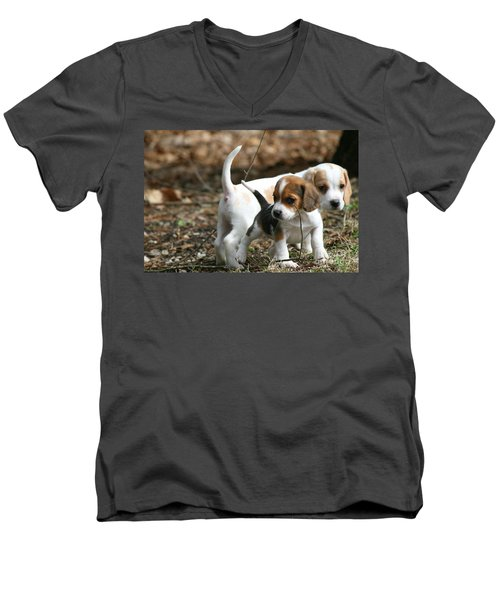 Exploring Beagle Pups Men's V-Neck T-Shirt