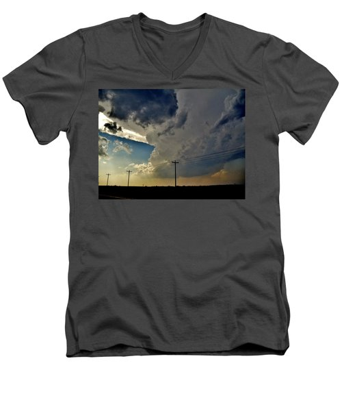 Explosive Texas Supercell Men's V-Neck T-Shirt by Ed Sweeney
