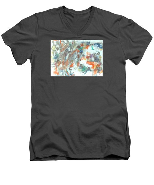 Men's V-Neck T-Shirt featuring the mixed media Express Graphic by Esther Newman-Cohen