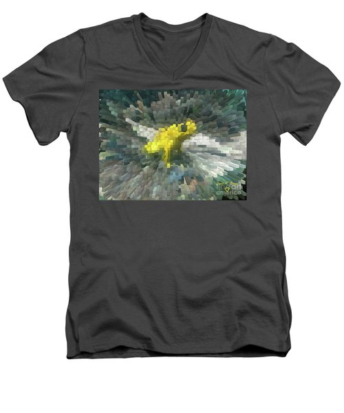Men's V-Neck T-Shirt featuring the photograph Extrude Yellow Frog by Donna Brown