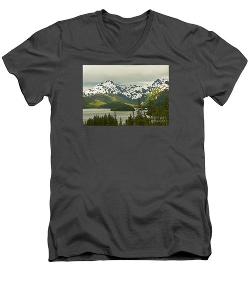 Eyak Lake Landscape Men's V-Neck T-Shirt by Nick  Boren