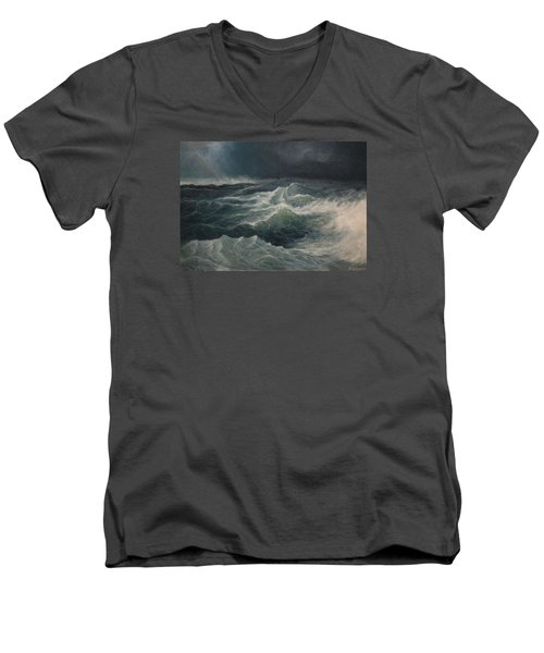 Men's V-Neck T-Shirt featuring the painting Eye Of Storm by Mikhail Savchenko