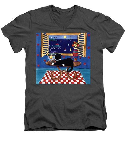 Eye On Lunch Men's V-Neck T-Shirt by Lance Headlee