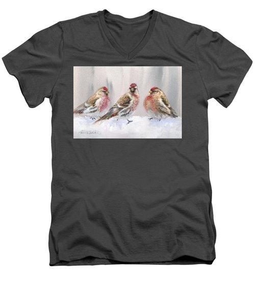 Snowy Birds - Eyeing The Feeder 2 Alaskan Redpolls In Winter Scene Men's V-Neck T-Shirt by Karen Whitworth