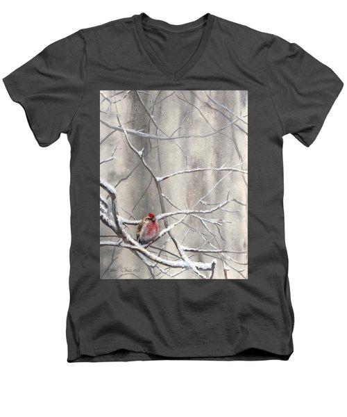 Eyeing The Feeder Alaskan Redpoll In Winter Men's V-Neck T-Shirt by Karen Whitworth