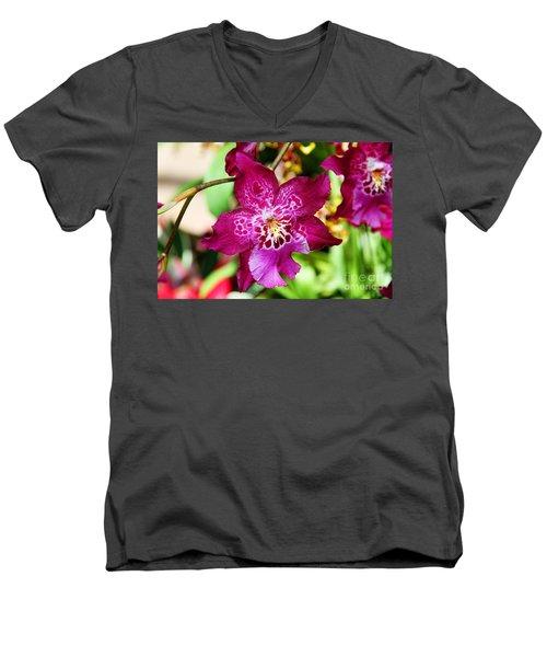 Fabulous Fushia Orchids By Diana Sainz Men's V-Neck T-Shirt