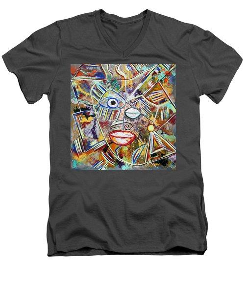 Faces In Life - Just Smile Men's V-Neck T-Shirt