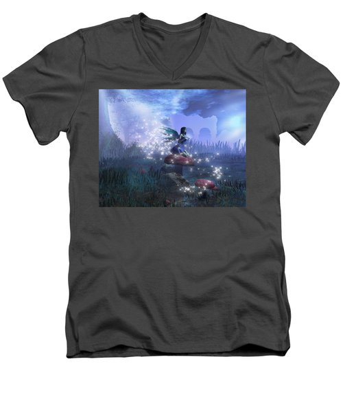 Men's V-Neck T-Shirt featuring the digital art Faerie by David Mckinney