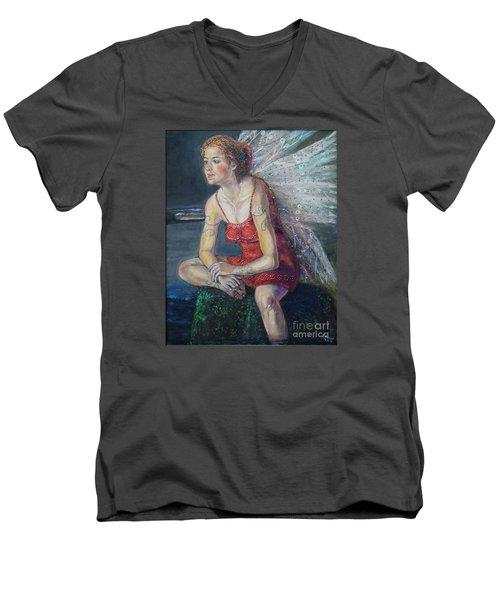 Fairy On A Stone Men's V-Neck T-Shirt
