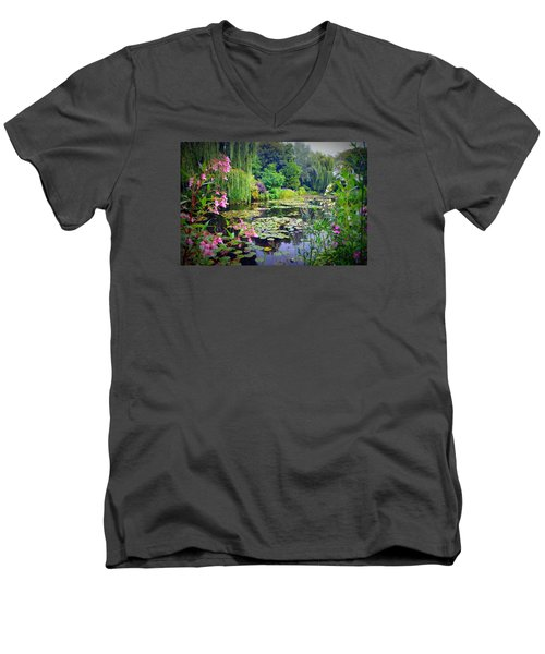 Fairy Tale Pond With Water Lilies And Willow Trees Men's V-Neck T-Shirt by Carla Parris