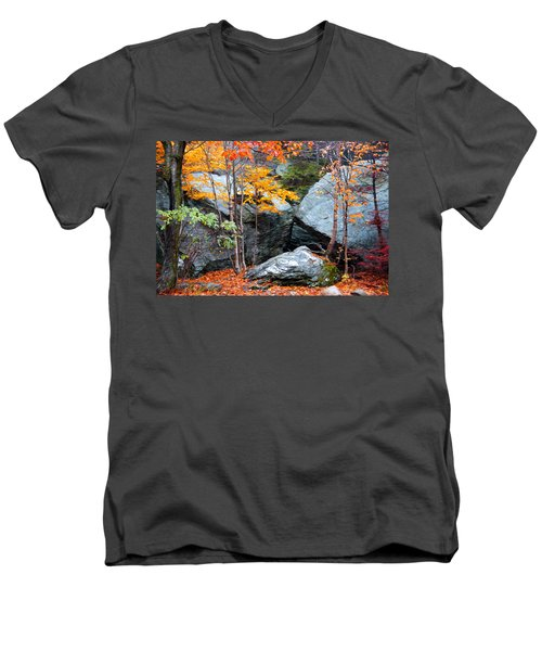 Men's V-Neck T-Shirt featuring the photograph Fall Among The Rocks by Bill Howard
