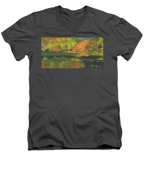Fall At Dorrs Pond Men's V-Neck T-Shirt