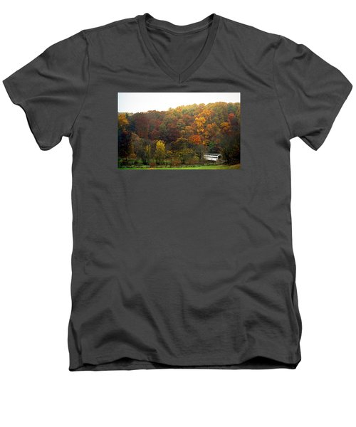 Fall At Valley Forge Men's V-Neck T-Shirt by Skip Willits