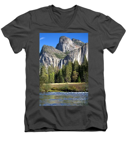 Yosemite National Park-sentinel Rock Men's V-Neck T-Shirt by David Millenheft