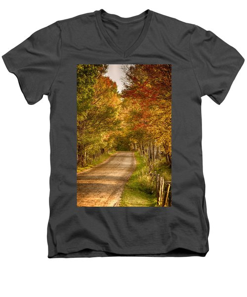 Men's V-Neck T-Shirt featuring the photograph Fall Color Along A Peacham Vermont Backroad by Jeff Folger