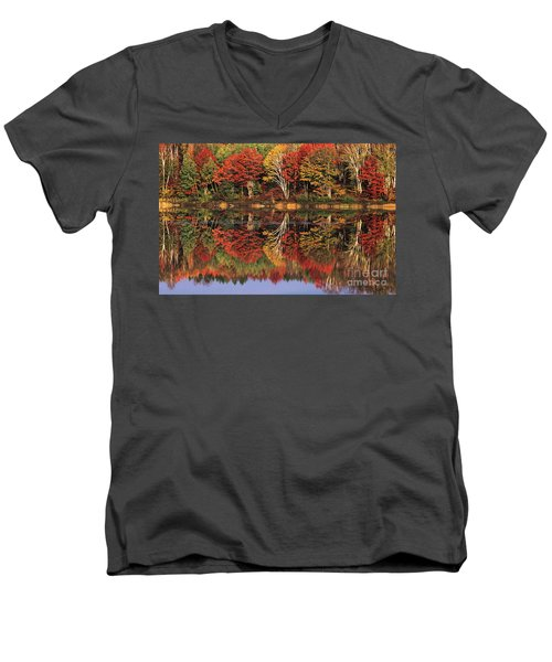 Men's V-Neck T-Shirt featuring the photograph Fall Color Reflected In Thornton Lake Michigan by Dave Welling