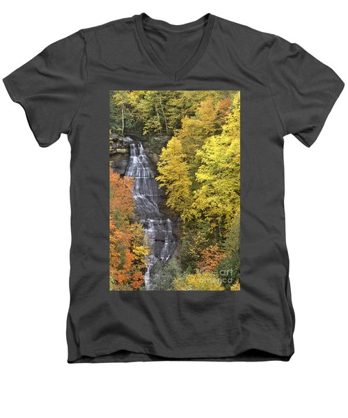 Fall Color Surrounds Chapel Falls On The Michigan Upper Peninsula Men's V-Neck T-Shirt by Dave Welling