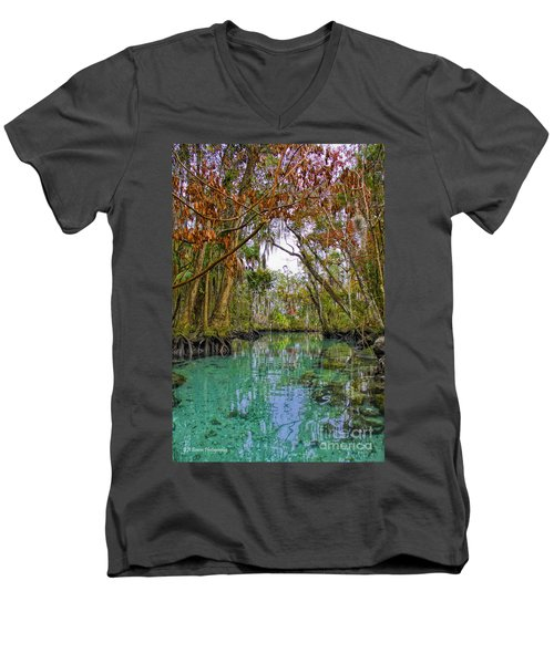 Fall Colors Along Three Sisters Spring Run Men's V-Neck T-Shirt