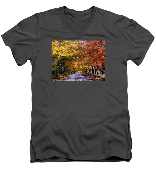 Fall Colors Near Sister Bay Men's V-Neck T-Shirt by David T  Wilkinson