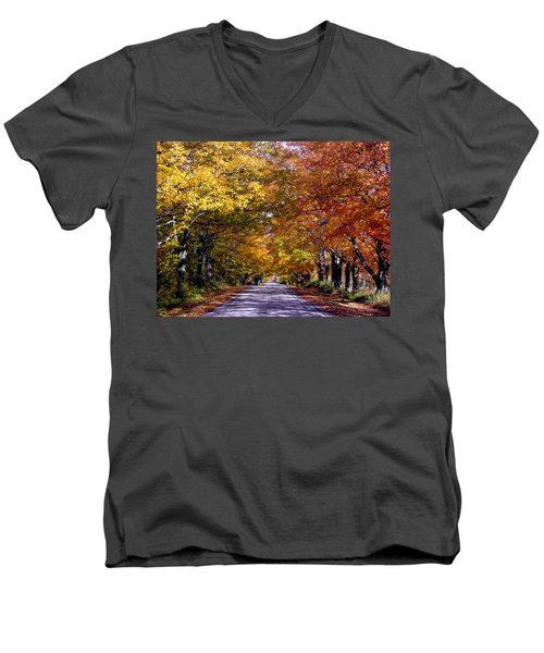 Fall Colors Near Sister Bay Men's V-Neck T-Shirt