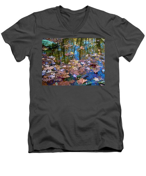 Fall Creek Men's V-Neck T-Shirt by Pamela Clements