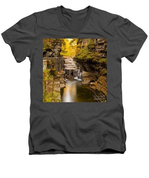 Fall Foliage At Dusk Treman Park Men's V-Neck T-Shirt