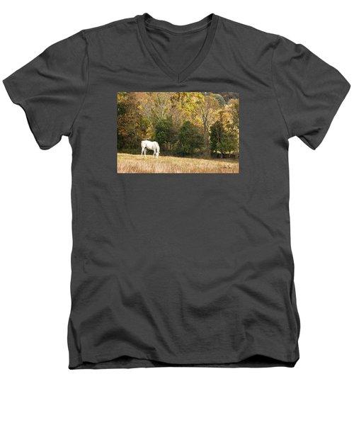 Men's V-Neck T-Shirt featuring the photograph Fall Grazing by Joan Davis