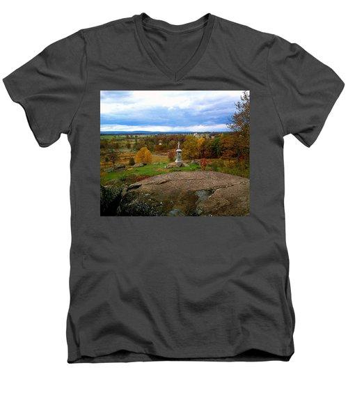 Fall In Gettysburg Men's V-Neck T-Shirt by Amazing Photographs AKA Christian Wilson