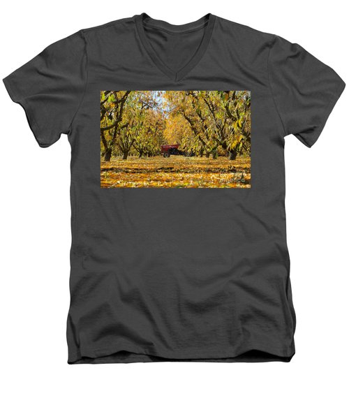 Fall In The Peach Orchard Men's V-Neck T-Shirt by Jim And Emily Bush