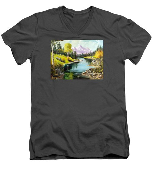 Fall In The Rockies Men's V-Neck T-Shirt by Lee Piper
