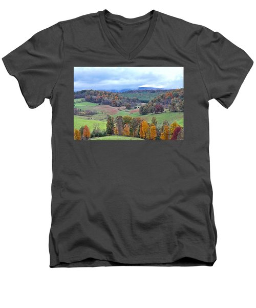 Fall In Virginia Men's V-Neck T-Shirt by Denise Romano