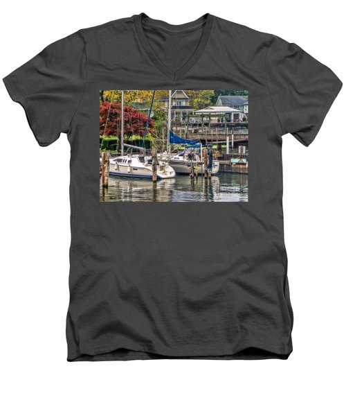 Men's V-Neck T-Shirt featuring the photograph Fall Memory by Tammy Espino