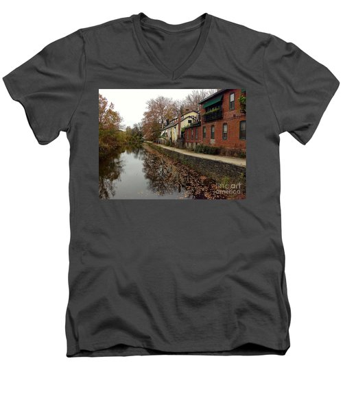Fall On The Canal Men's V-Neck T-Shirt