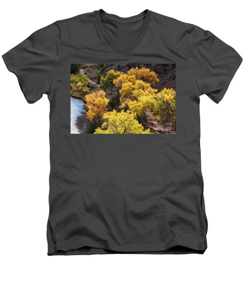 Men's V-Neck T-Shirt featuring the photograph Fall On The Chama River by Roselynne Broussard