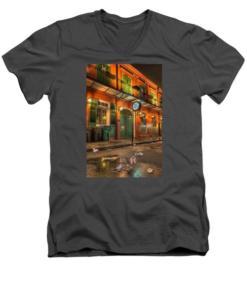 Men's V-Neck T-Shirt featuring the photograph Fall-out From Pat O'briens by Tim Stanley