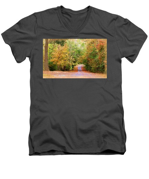 Men's V-Neck T-Shirt featuring the photograph Fall Pathway by Judy Vincent