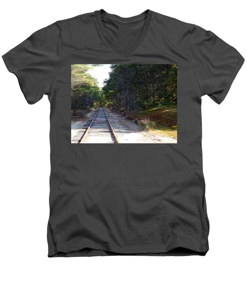 Fall Railroad Track To Somewhere Men's V-Neck T-Shirt