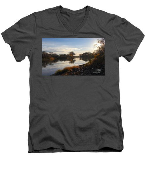 Fall Red River At Sunrise Men's V-Neck T-Shirt