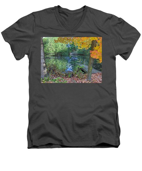 Men's V-Neck T-Shirt featuring the photograph Fall Scene By Pond by Brenda Brown