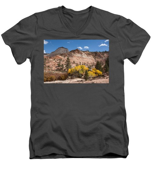 Men's V-Neck T-Shirt featuring the photograph Fall Season At Zion National Park by John M Bailey