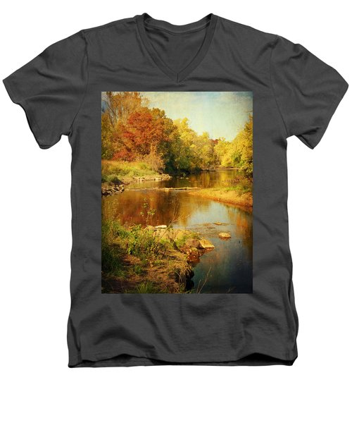Fall Time At Rum River Men's V-Neck T-Shirt by Lucinda Walter