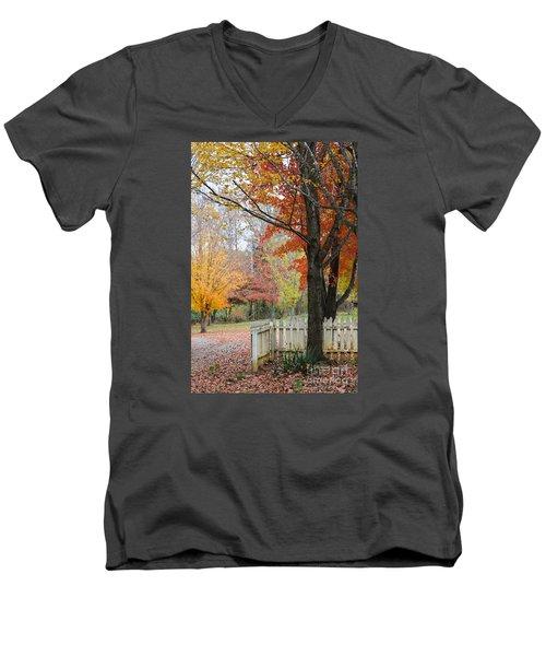 Fall Tranquility Men's V-Neck T-Shirt by Debbie Green