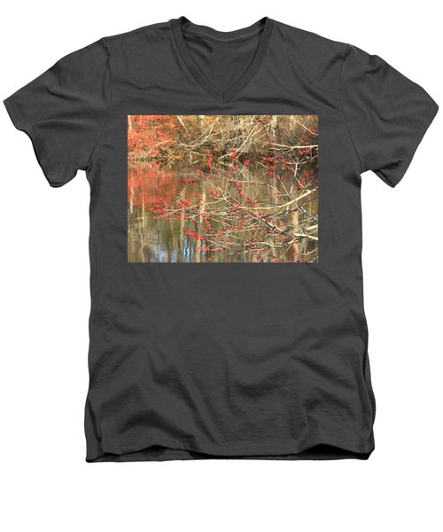 Fall Upon The Water Men's V-Neck T-Shirt by Bruce Carpenter
