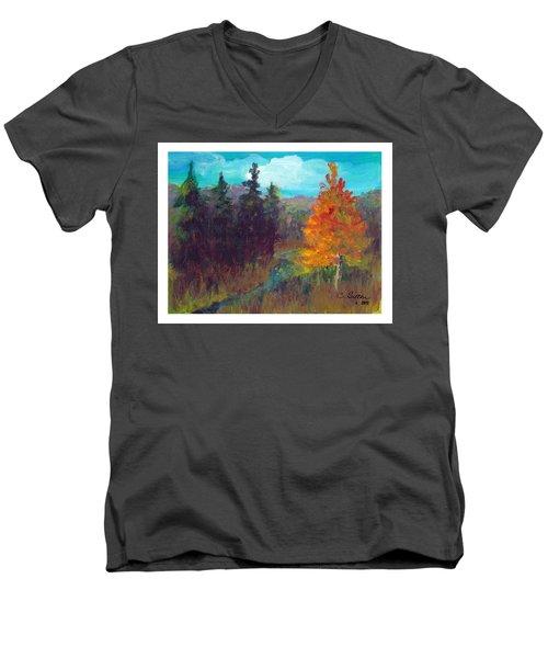Fall View Men's V-Neck T-Shirt by C Sitton