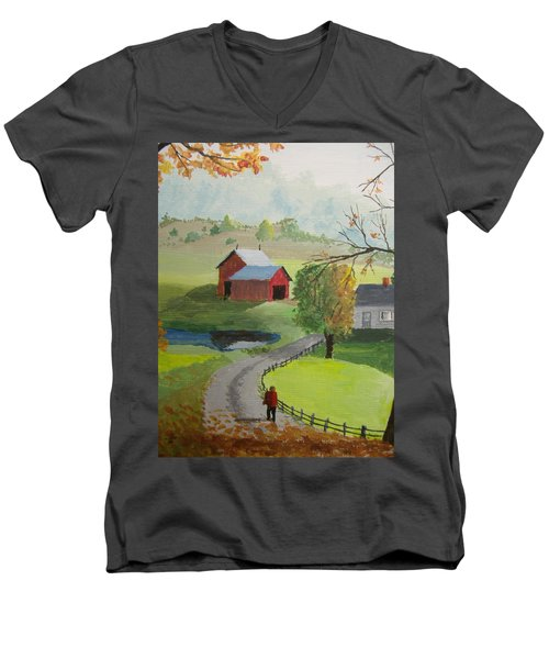 Men's V-Neck T-Shirt featuring the painting Fall Walk by Norm Starks