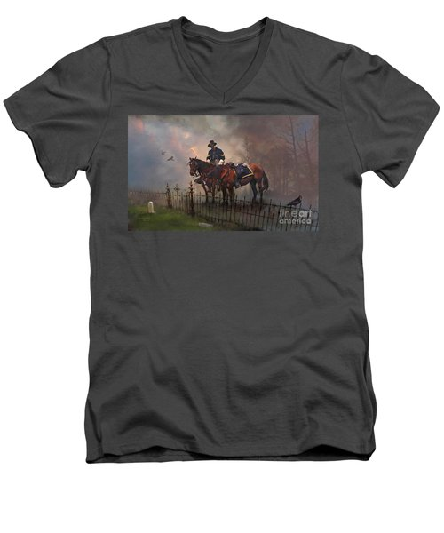 Men's V-Neck T-Shirt featuring the painting Fallen Comrade by Rob Corsetti