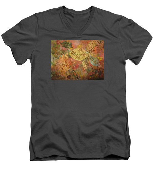 Fallen Leaves II Men's V-Neck T-Shirt by Ellen Levinson
