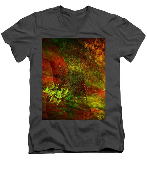 Men's V-Neck T-Shirt featuring the mixed media Fallen Seasons by Ally  White