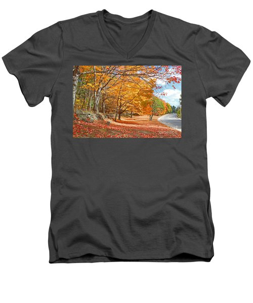 Men's V-Neck T-Shirt featuring the photograph Falling Leaves On The Road To Bentley by Rita Brown